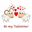 "A sheep and a ram in love with text ""Be my Valentine"". Valentine — Stock vektor"