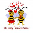 "Two funny cartoon bees with words ""Be my Valentine"". Valentine's — Stock Vector"