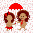A funny cartoon couple with umbrella under the rain of hearts. A — Stock Vector #38572623