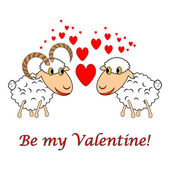 "A sheep and a ram in love with text ""Be my Valentine"". Valentine — Stock Vector"