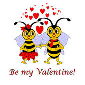 """Two funny cartoon bees with words """"Be my Valentine"""". Valentine's — Stock Vector"""