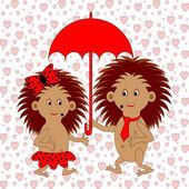 A funny cartoon couple with umbrella under the rain of hearts. A — Stock Vector