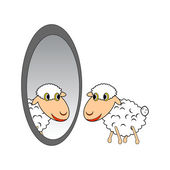 A funny cartoon sheep looking at itself in a mirror — Stock Vector
