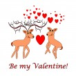Couple of funny cartoon deer with words 'Be my Valentine' — Stock Vector