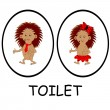 Man and woman toilet signs. Funny cartoon hedgehogs — Stock Vector