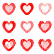 Set of design drawn heart icons for Valentine's Day and wedding — Stock Vector