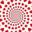 Design red whirl heart backdrop. Valentines Day background — Stock Vector