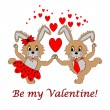 "A couple of funny cartoon rabbits with text ""Be my Valentine"" — Stock Vector #39947687"