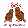 "A couple of owls with red hearts and words ""Be my valentine"". De — Stock Vector"
