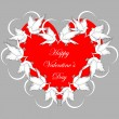 A red heart decorated with flying white doves and smaller hearts — Stock Vector