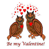 """A couple of owls with red hearts and words """"Be my valentine"""". De — Stock Vector"""