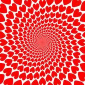 Tasarım kırmızı kalp sarmal hareket zemin. Sevgililer günü kartı — Stok Vektör