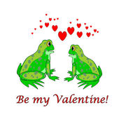 Birkaç komik karikatür kurbağalar yürekleri. sevgililer günü araba — Stok Vektör