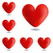 Set of design heart icons for Valentine's Day and wedding — Stock Vector