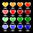 Set of design 3d multicolor heart icons. Emblems for Valentine's — Stock Vector