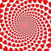 Design rött hjärta spiral motion bakgrund. alla hjärtans dag-kort — Stockvektor
