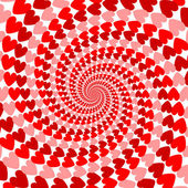 Design red striped heart helix movement background. Valentines D — Stock Vector