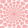 Design doodle red heart spiral movement background. Valentines D — Stock Vector #40496523