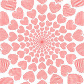 Design doodle red heart spiral movement background. Valentines D — Stock Vector