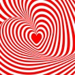 Design heart swirl rotation illusion background. Abstract stripe — Stock Vector