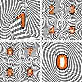 Design numbers set. Striped waving line textured font — Stockvektor