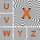 Design alfabet brev från dig till z. randig viftande linjer strukturer — Stockvektor