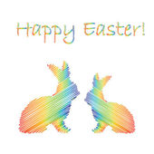 Multicolor silhouette of two Easter bunny rabbits. Design Easter — Stock Vector
