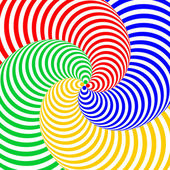 Design colorful swirl circular movement illusion background. Abs — Stock Vector