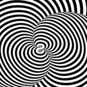 モノクロの旋回運動錯覚背景をデザインします。抽象的な s — ストックベクタ