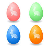 Colorful Easter eggs with bunny rabbits drawn on them — Stock Vector