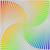 多色の旋回運動錯覚背景をデザインします。 — ストックベクタ