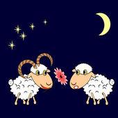 A ram presenting a sheep a flower — Stock Vector