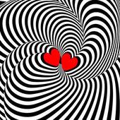 Design hearts twisting movement illusion background — Stock Vector