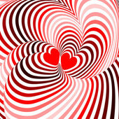 Design hearts twisting movement illusion background — Stock vektor