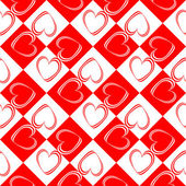 Design seamless red hearts pattern — ストックベクタ
