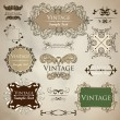 Vector set of calligraphic design elements and floral frames — Stok Vektör