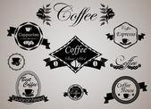 Set di etichette e distintivi di caffè retrò vintage. — Vettoriale Stock