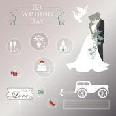Набор Свадебные приглашения — Cтоковый вектор
