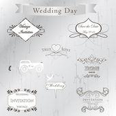 Conjunto de invitación de la boda — Vector de stock