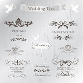 Set of wedding invitation — Stock Vector