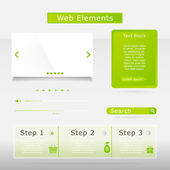 Web elements collection set. Buttons, Sliders, Media Player, Log — Stock Vector