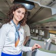 Pendolino wroclaw poland first time stewardess inviting — Stock Photo