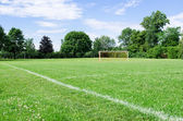 Public Soccer Field on summer day — Stock Photo