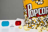 Popcorn and 3d glasses — Stock Photo