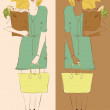 Girl holding yellow fancy bag and some food in paper bag two variations — Stock Vector