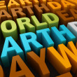 3d world earth day text — Stock Photo