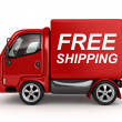 3D Red Van with Free Shipping text isolated — Stock Photo