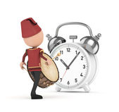 3d ramadan drummer with clock — Stock Photo