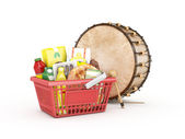 Shopping cart with drum — Stock Photo