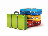 3d colorful suitcases isrolated — Stock Photo